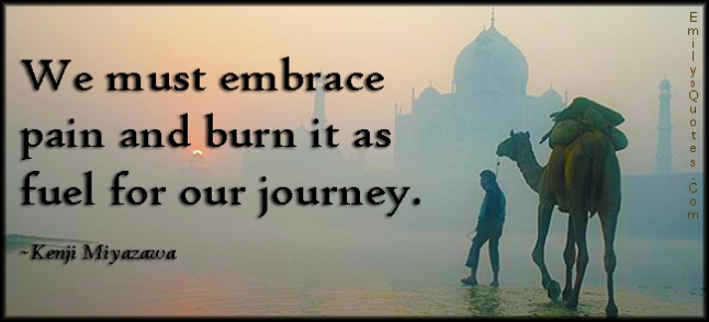 EmilysQuotes.Com - embrace, pain, burn, fuel, journey, amazing, great, wisdom, inspirational, motivational, Kenji Miyazawa