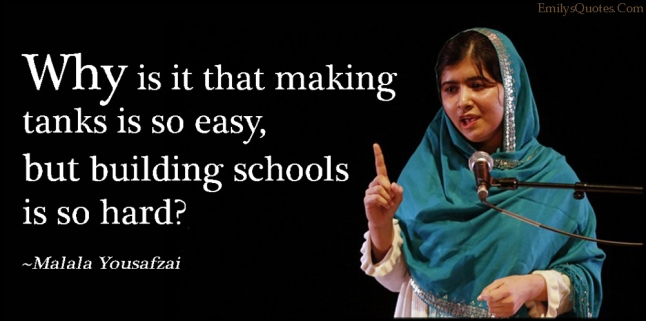 EmilysQuotes.Com - amazing, great, question, tanks, easy, schools, hard, Malala Yousafzai